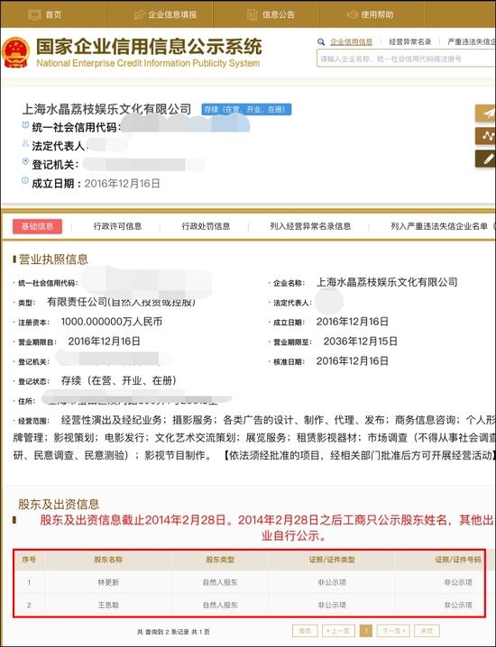 """王思聪林更新合伙开公司""""水晶荔枝"""" 网友:满满少女心"""