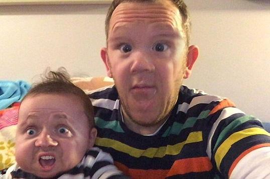 辣眼!爸爸与儿子换脸照爆红:看完整个人不好了